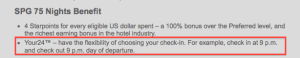 YOUR24 is part of SPG's new Platinum benefits.