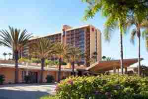 Exterior of the Sheraton Park Hotel at the Anaheim Resort.