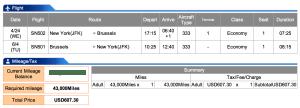 Brussels Airlines JFK-BRU Economy Award