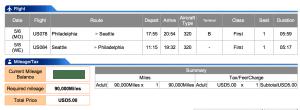 US Airways First Philadelphia to Seattle