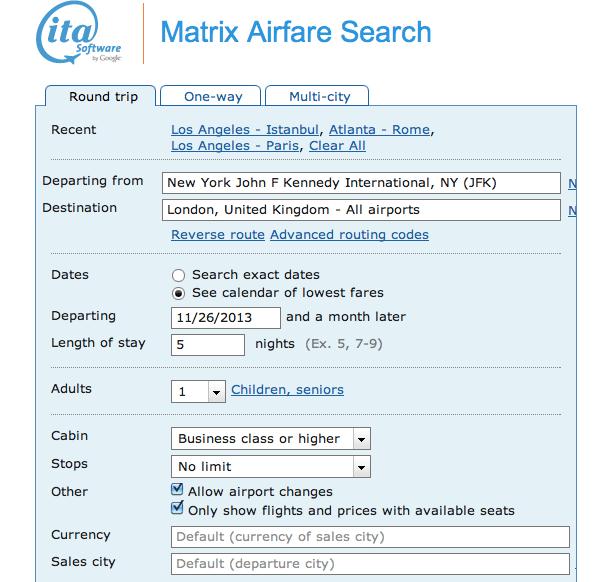 ITA Flight Matrix JFK-London