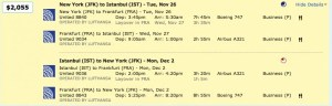 JFK to Instanbul on United for $2,055.