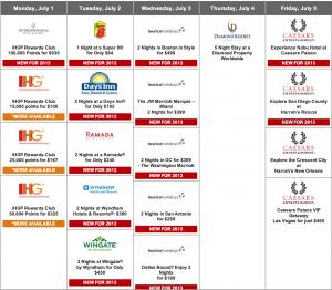 Amex Daily Getaways Week 4 Schedule.