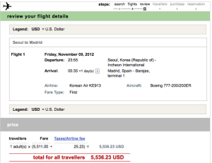 My first class ticket from Madrid to Seoul was 80,000 miles.