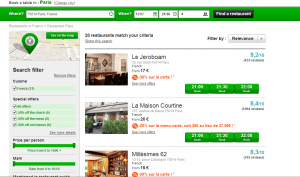 Here is a search for 50% off restaurants in Paris - and there are plenty right now!