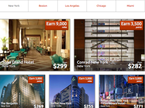 RocketMiles has hotels in cities across the country but with only a few properties in each location.