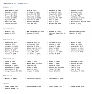 Reduced mileage award destinations for October.