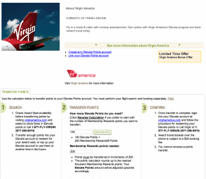 Amex is offering a 40% bonus on transferred points to Virgin America.