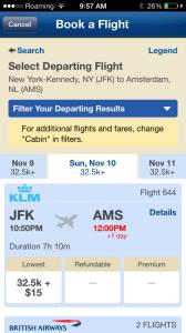 Alaska App KLM BA
