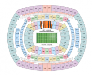 The VIP seats are in the orange section of the stadium above.