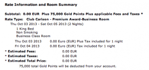 Two nights at the Radisson Blu Hotel Madrid Prado cost me 75,000 points.
