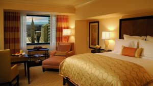 A guestroom with a view at the Ritz Carlton Denver.