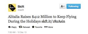 Struggling Italian airline Alitalia successfully raised millions.