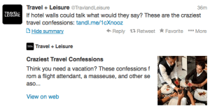 Travel + Leisure is dishing on crazy travel confessions.