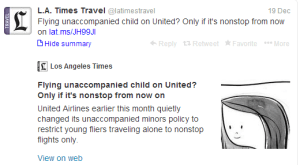 Minors traveling on United will no longer be allowed to have a connecting itinerary.