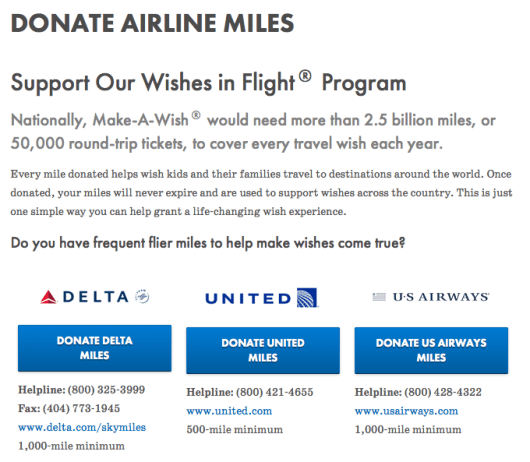 Many airlines allow you to donate your miles to charity; Make-A-Wish takes Delta, United, and US Airways miles.