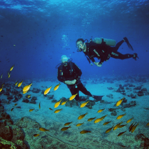 Diving off Brazil's remote Fernando de Noronha with my friend Sergio (on the left)