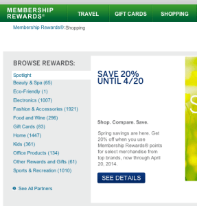 At present, clicking on the Shopping tab of the home page at membershiprewards.com yields a list of shopping products; on May 8, 2014, these will no longer be available