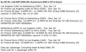 Options from a recent FlyerTalk post featuring $561+ flight options