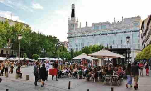 The bustling terrace bars in Plaza Santa Ana, including Lateral.