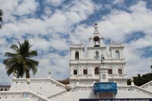 White churches from Goa's colonial, Portuguese past are found all over the state