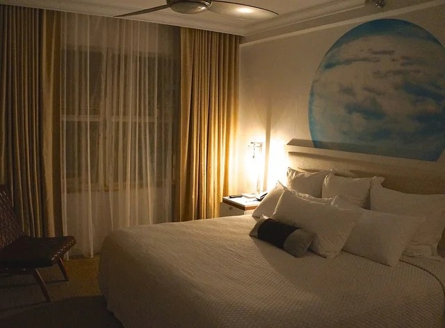 My peaceful suite had a round print of a blue sky over the comfortable king-sized bed