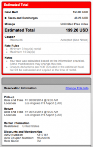 $199 all in for 7 day rental at LAX