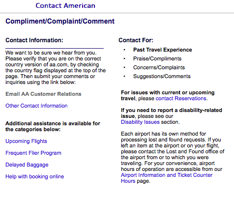 You can contact AA through their complain page.