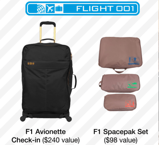 Flight 001 Giveaway: F1 Avionette Check-In and an F1 Spacepak Set