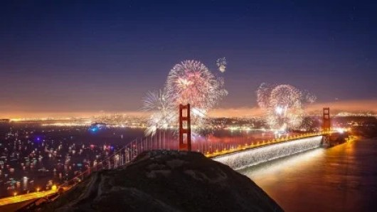 Fourth of July fireworks over the San Francisco Bay