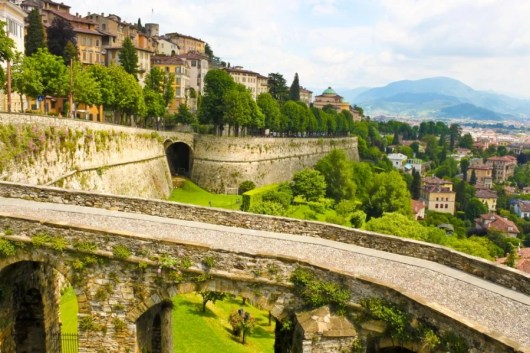 The walled high city of Bergamo. Image courtesy of Shutterstock