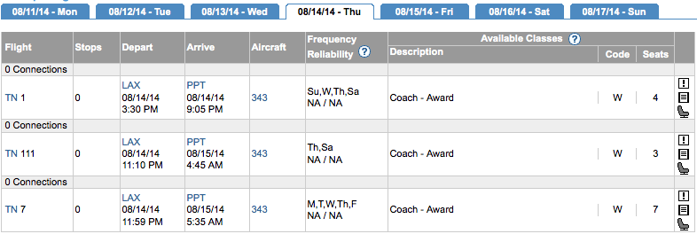 Use ExpertFlyer to search Air Tahiti Nui award space.