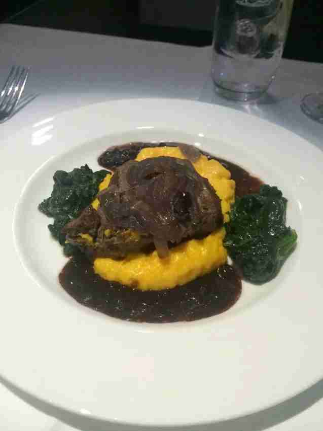 My beef entree, with polenta and spinach