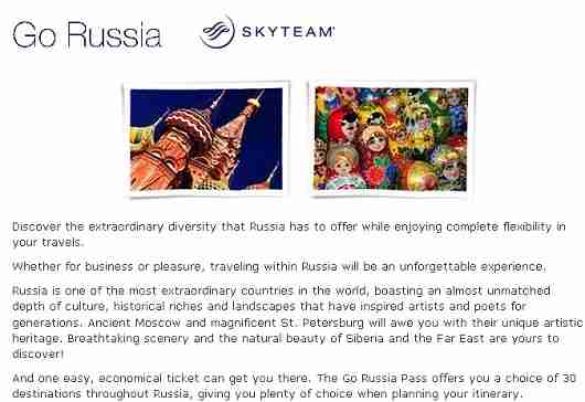 Skyteam offers a Go Russia air travel pass.