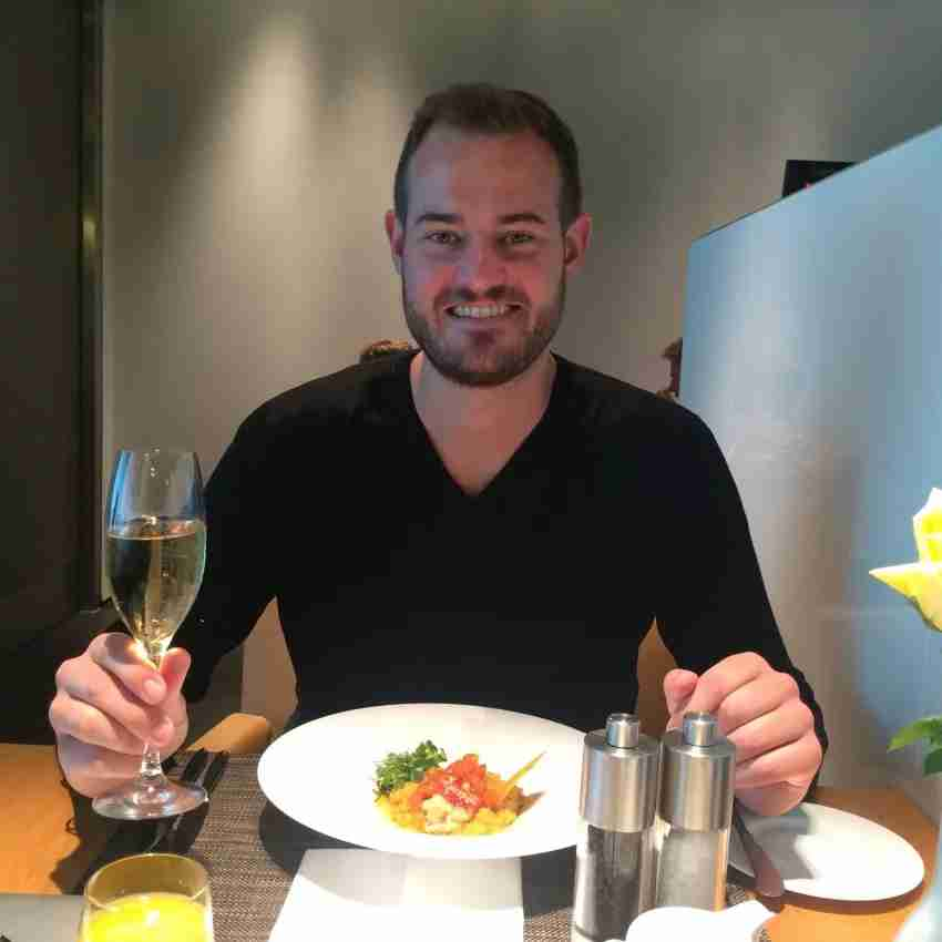 I enjoyed lobster-curry risotto and Champagne in Munich