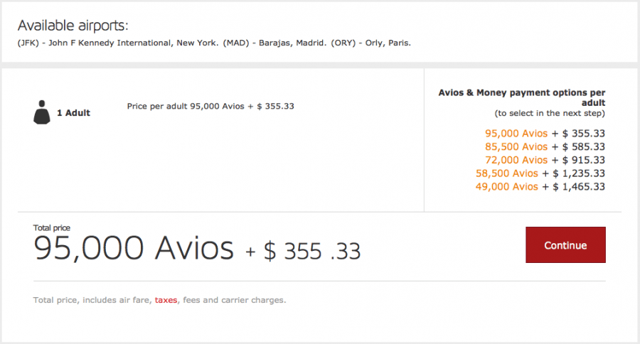 Avios deals to paris
