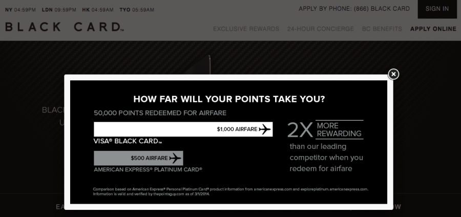 The Visa Black card highlights the benefit of booking flights with their points compared to the Amex Platinum (though their math is a bit off, since Membership Rewards actually gets you 1.25 cents/point!)