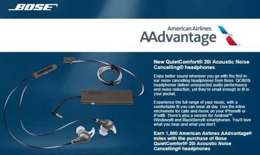 Get 1,500 AAdvantage miles for a Bose Headphone purchase