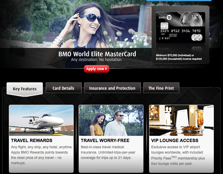 Bank of Montreal has several credit card options, but you should look hard at the World Elite MasterCard.
