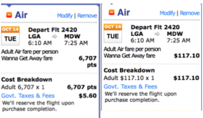 Comparing redeeming points vs. buying a ticket outright.