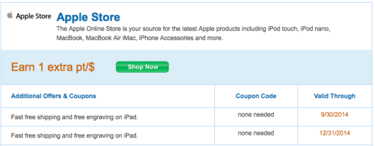 The Ultimate Rewards portal is currently offering a bonus point per $1 at Apple.