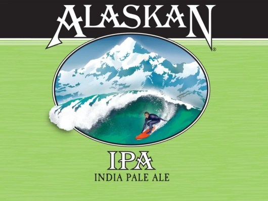 The Icy Bay IPA label depicts local surfer Scott Dickerson hitting the Alaskan surf