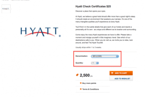 Travel certificates like this Hyatt one get you 1 cent per point in value.