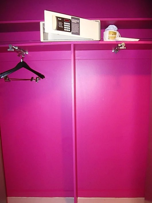 The old and finicky safe in the hot pink hall closet