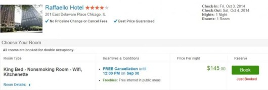 The Raffaello Hotel was more expensive if booked via Priceline