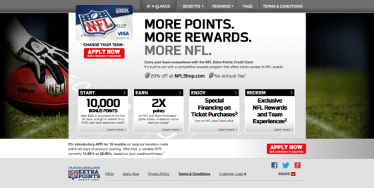 The NFL Extra Points card allows you to show off your favorite team and also earn extra points on NFL purchases.