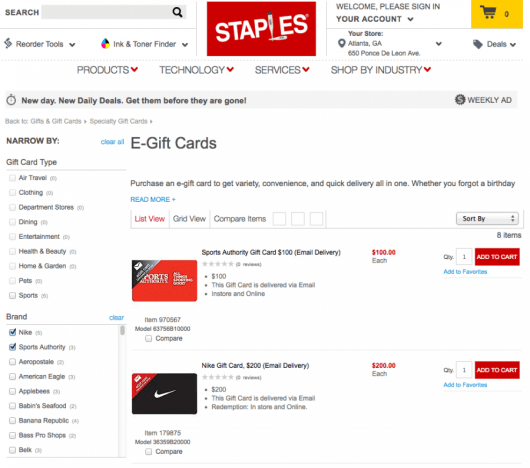 Both Nike and Sports Authority are available as eGift Cards on Staples.com, allowing you to use your Chase Ink card to earn 5 Ultimate Rewards points per dollar.