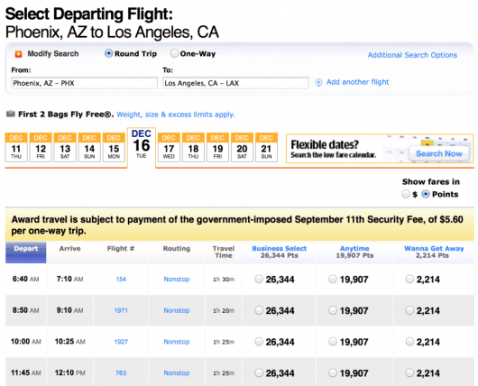 You can also book these same flights for only 2,214 miles each-way!