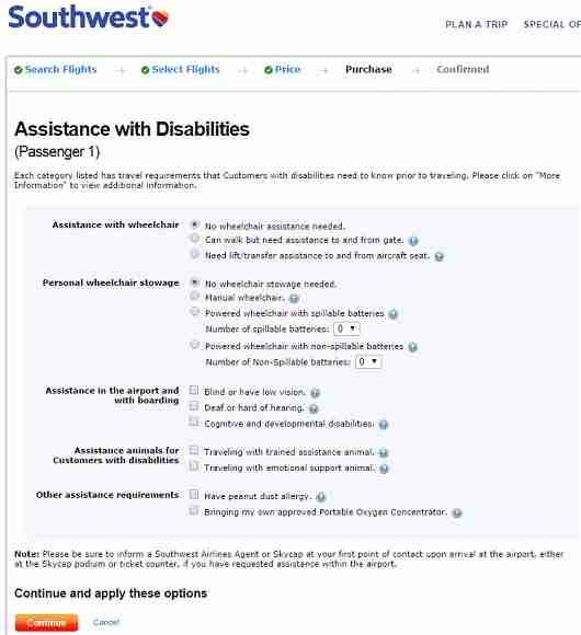 Southwest is one of the few airlines that allows travelers to select disability options online at the time of booking.