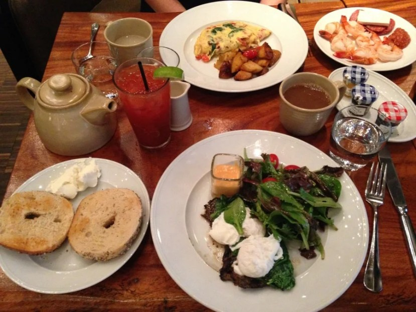 Our VERY full breakfast table on Saturday morning.